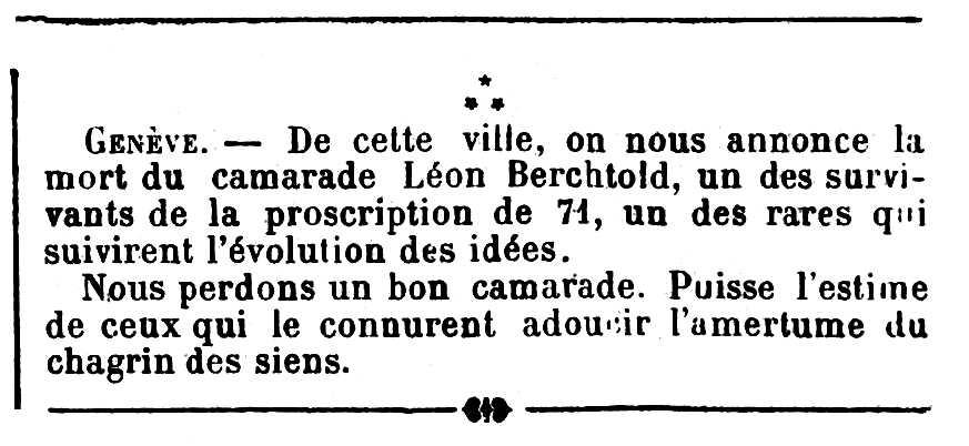 """Necrològica de Léon Berchtold publicada en el periòdic parisenc """"Les Temps Nouveaux"""" del 4 d'abril de 1903"""