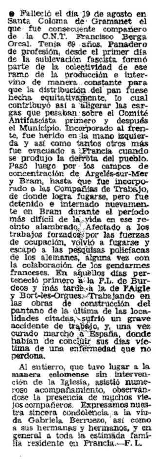 "Necrològica de Francisco Berca Orcal apareguda en el periòdic parisenc ""Frente Libertario"" de novembre de 1976"