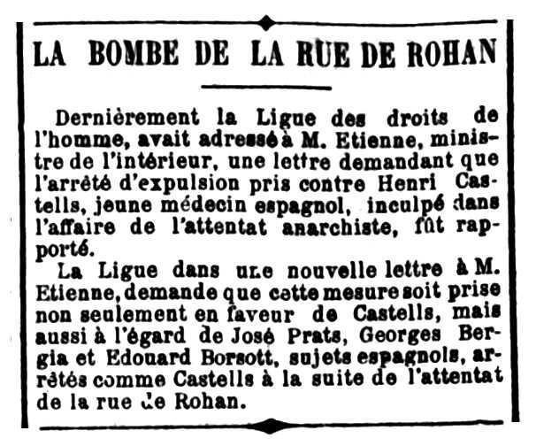 "Notícia sobre la detenció de Giorgio Bergia apareguda en el periòdic parisenc ""La Politique Coloniale"" del 5 de juliol de 1905"
