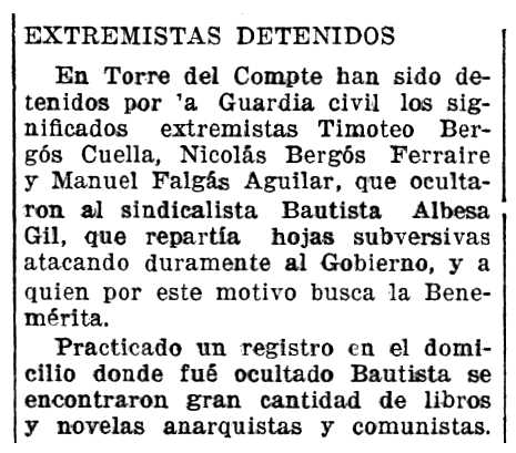 """Notícia de la detenció de Nicolás Bergós Ferrero apareguda en el diari saragossà """"La Voz de Aragón"""" del 27 de setembre de 1935"""