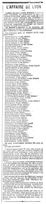 """Relació dels acusats en el """"Procés dels 66"""" apareguda en el periòdic parisenc """"La Lanterne"""" del 5 de gener 1883"""