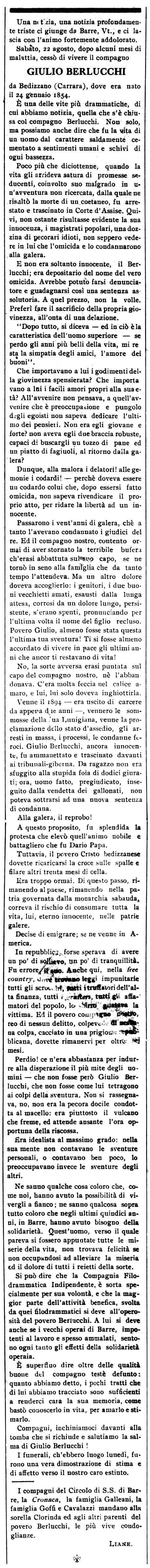 """Necrològica de Giulio Berlucchi apareguda en el periòdic de Barre """"Cronaca Sovversiva"""" del 5 de setembre de 1914"""