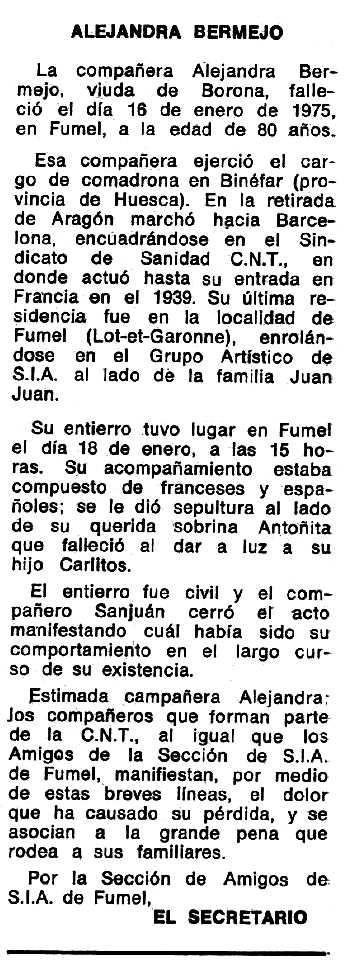 """Necrològica d'Alejandra Bermejo Muela apareguda en el periòdic tolosà """"Espoir"""" del 15 de juny de 1975"""
