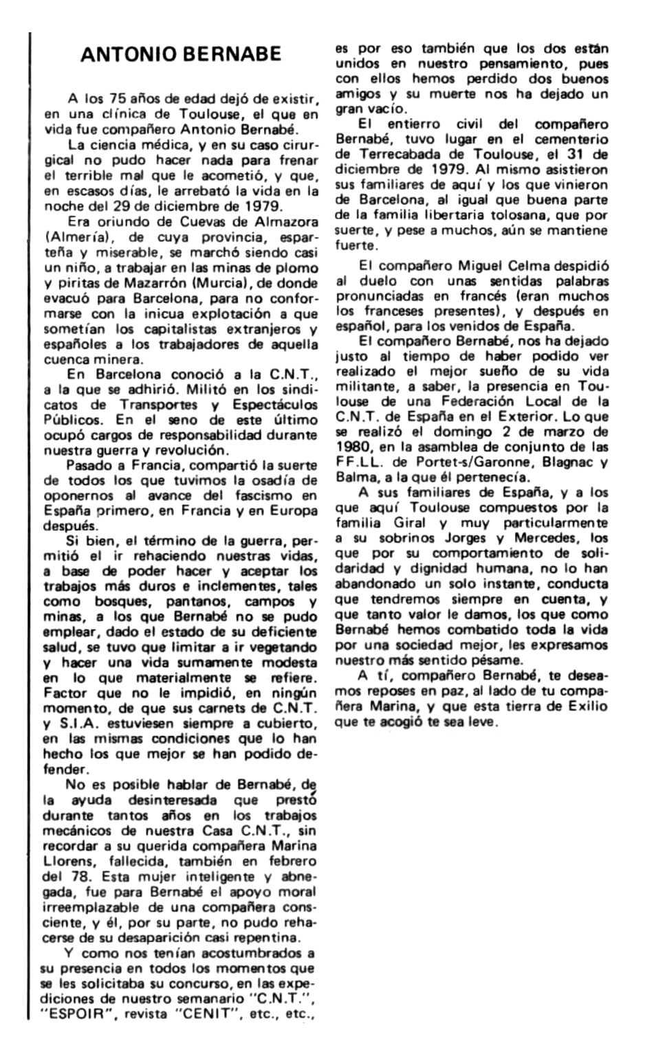"""Necrològica d'Antonio Bernabé Mula apareguda en el periòdic tolosà """"Espoir"""" de l'1 de juny de 1980"""