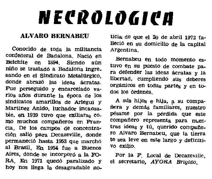 """Necrològica d'Álvaro Bernabeu Garín apareguda en el periòdic parisenc """"Le Combat Syndicaliste"""" del 15 de juny de 1972"""