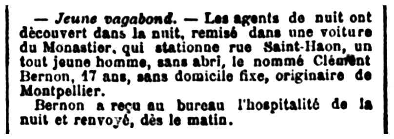 """Notícia de l'arrest de Clément Bernon apareguda en el diari de Saint-Étienne """"Mémorial de la Loire et de la Haute-Loire"""" del 10 de novembre de 1903"""