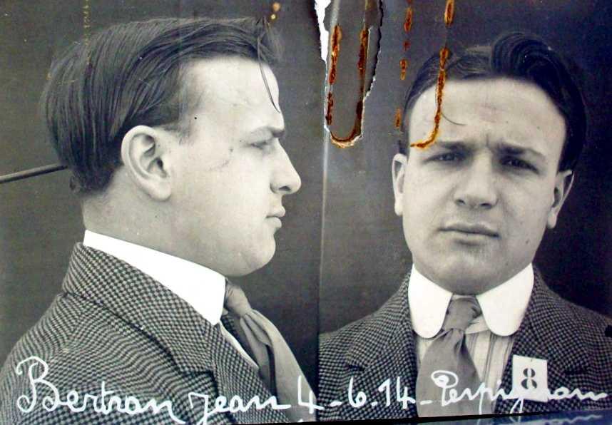 Foto antropomètrica de Joan Bertran Lagrifa (4 de juny de 1914)