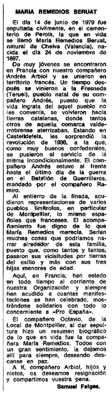 """Notícia necrològica de María Remedios Bernat Brune apareguda en el periòdic tolosà """"Espoir"""" del 23 de juliol de 1979"""