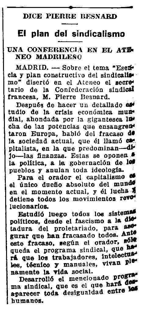 """Ressenya de la conferència publicada en el diari saragossà """"La Voz de Aragón"""" del 23 de juny de 1931"""