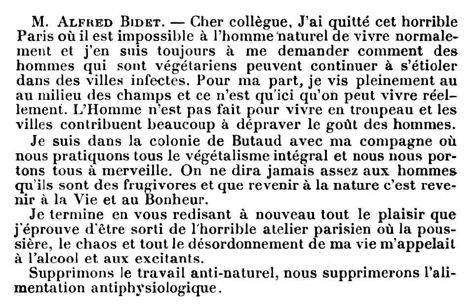 """Nota enviada per Alfred Bidet al """"Bulletin de la Société Végétarienne de France"""" publicat en el número de setembre de 1920"""