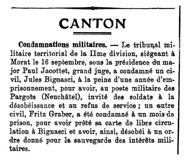 """Notícia de la condemna de Jules Bignasci apareguda en la """"Feuille d'Avis de Neuchâtel"""" del 18 de setembre de 1914"""