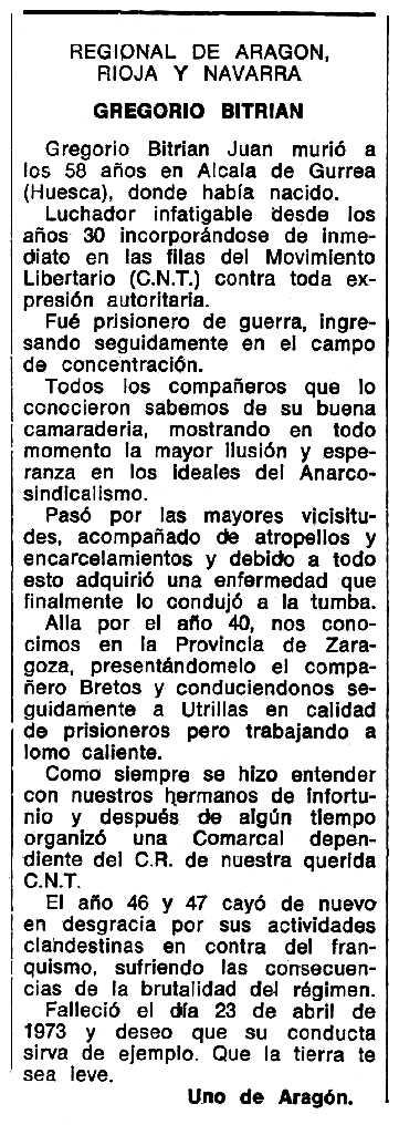 """Necrològica de Gregorio Bitrián Juan apareguda en el periòdic tolosà """"Espoir"""" del 14 d'octubre de 1973"""