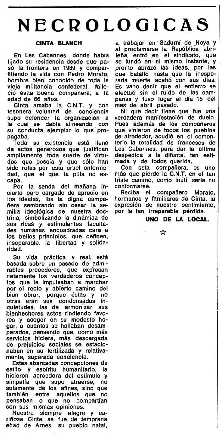 """Necrològica de Cinta Blanc apareguda en el periòdic tolosà """"Espoir"""" del 22 de setembre de 1974"""