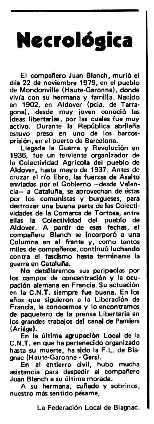 """Necrològica de Joan Blanch apareguda en el periòdic tolosà """"Espoir"""" del 20 d'abril de 1980"""