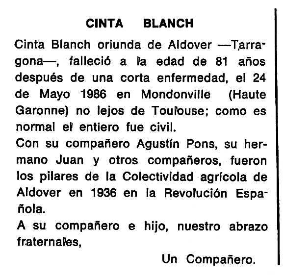 """Necrològica de Cinta Blanch Blanch apareguda en el periòdic tolosà """"Cenit"""" del 28 d'octubre de 1986"""