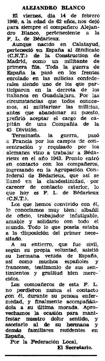 """Necrològica d'Alejandro Blanco apareguda en el periòdic tolosà """"Espoir"""" del 30 de març de 1969"""