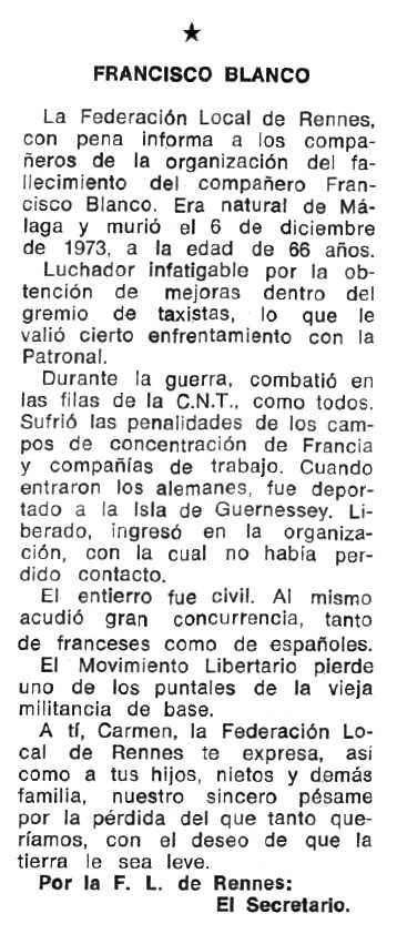 """Necrològica de Francisco Blanco Ponce apareguda en el periòdic tolosà """"Espoir"""" del 24 de març de 1974"""