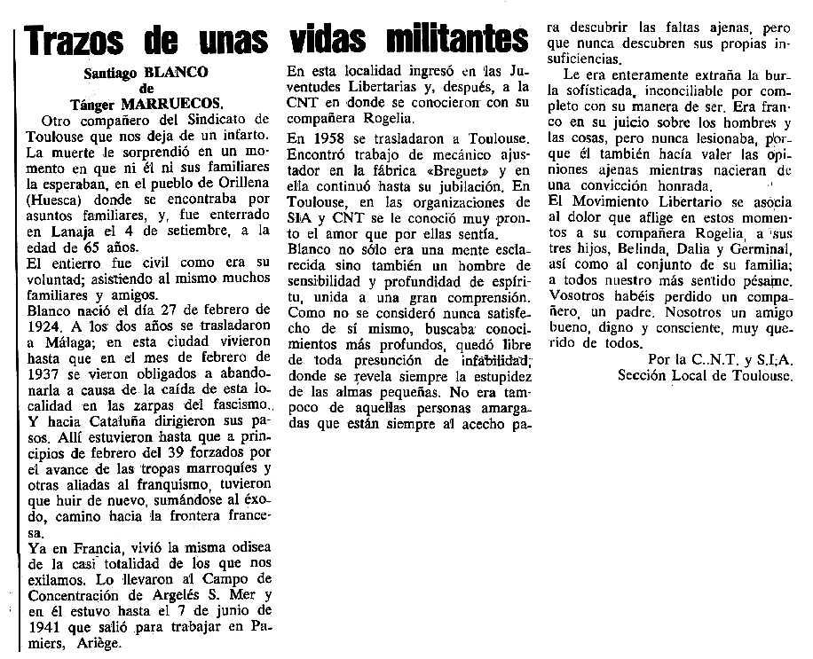 """Necrològica de Santiago Blanco Díaz apareguda en el periòdic tolosà """"Cenit"""" del 9 de gener de 1990"""