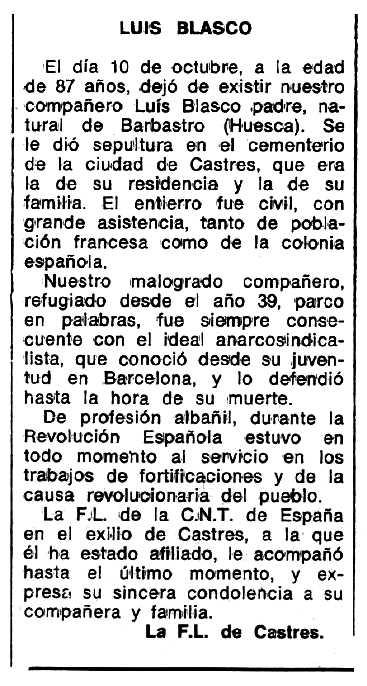 """Necrològica de Luis Blasco Gazo apareguda en el periòdic tolosà """"Espoir"""" del 12 de desembre de 1976"""