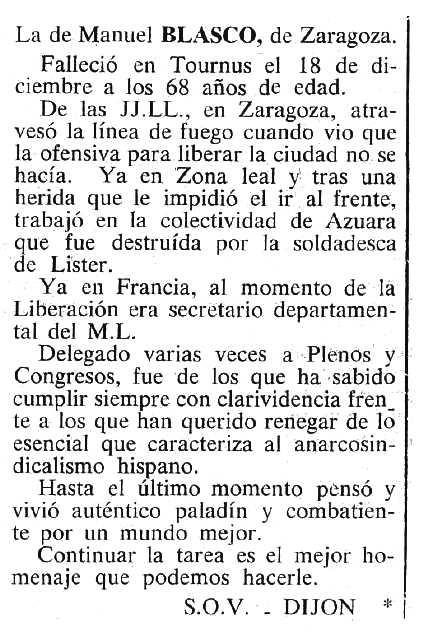 "Necrològica de Manuel Blasco Genzor apareguda en el periòdic tolosà ""Cenit"" del 21 de febrer de 1984"