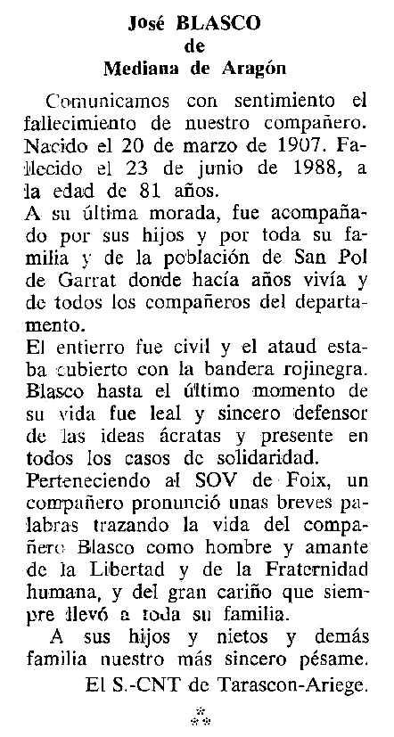 """Necrològica de José Blasco apareguda en el periòdic tolosà """"Cenit"""" del 20 de setembre de 1988"""