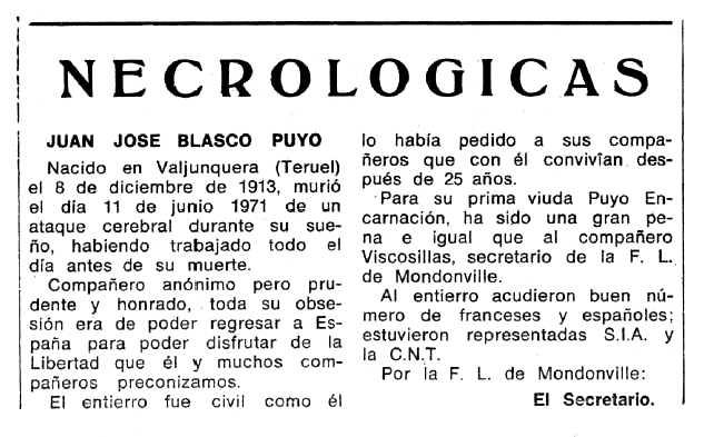 """Necrològica de Juan José Blasco Puyo apareguda en el periòdic tolosa """"Espoir"""" del 26 de setembre de 1971"""