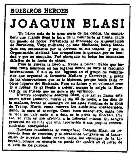 """Necrològica de Joaquim Blasi Vilanova apareguda en el diari barceloní """"Solidaridad Obrera"""" del 18 de juny de 1938"""