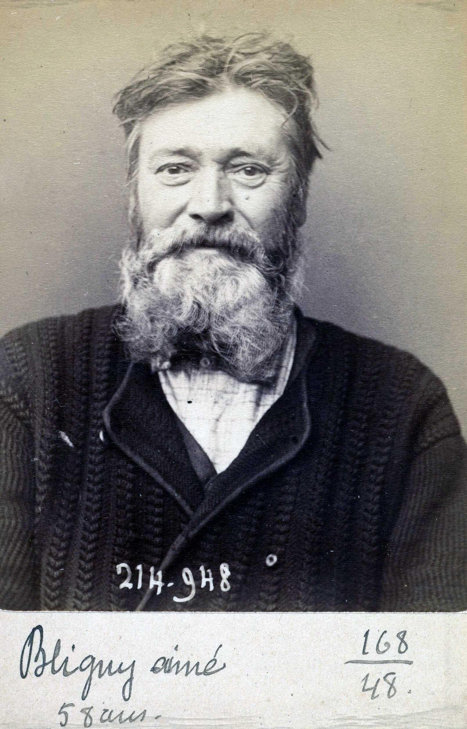 Foto policíaca d'Aimé Bligny (2 de març de 1894)