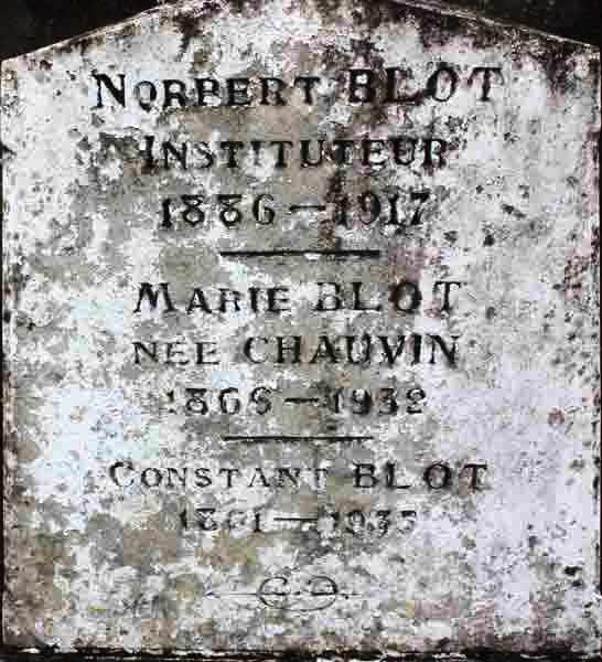 Làpida de la tomba de Norbert Blot al cementiri d'Aubigné-Racan