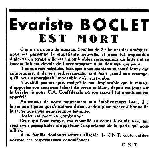 "Necrològica d'Evariste Boclet apareguda en el periòdic parisenc ""Le Combat Syndicaliste"" del 8 de gener de 1954"