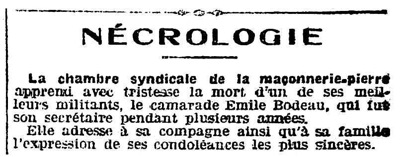 """Necrològica d'Émile Bodeau apareguda en el diari parisenc """"L'Humanité"""" del 6 d'agost de 1918"""