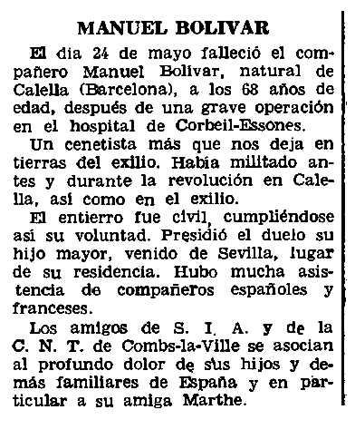"Necrològica de Manuel Bolívar Torruella apareguda en el periòdic parisenc ""Le Combat Syndicalista"" del 23 de juny de 1966"