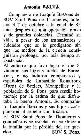 """Necrològica d'Antònia Boltà Viñas apareguda en el periòdic tolosà """"Cenit"""" del 15 de novembre de 1988"""