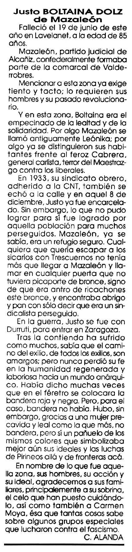 """Necrològica de Justo Boltaina Dolz apareguda en el periòdic tolosà """"Cenit"""" del 17 de setembre de 1991"""