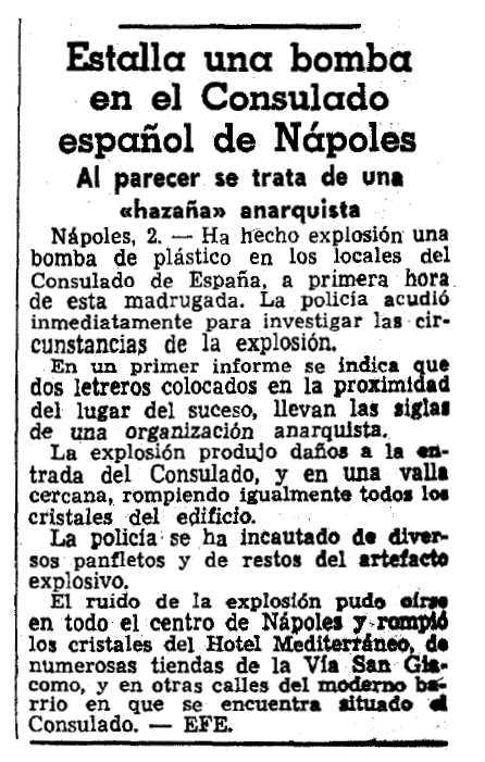"""Notícia sobre l'atemptat apareguda en """"La Vanguardia"""" del 3 de gener de 1965"""