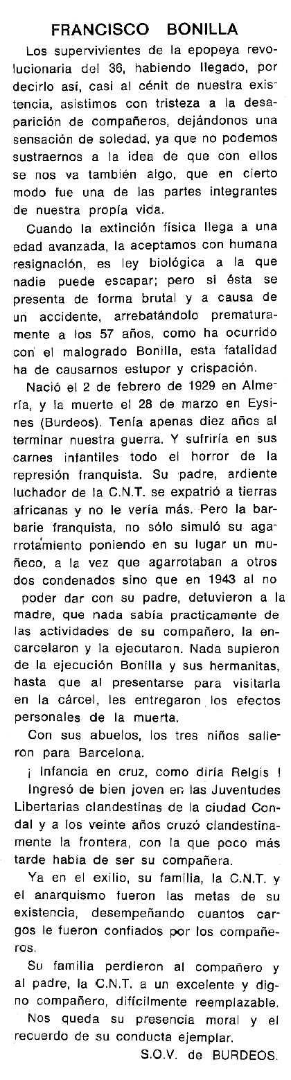 "Necrològica de Francisco Bonilla Castillo apareguda en el periòdic tolosà ""Cenit"" del 27 de maig de 1986"