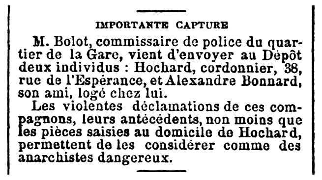 """Notícia de la detenció d'Alexandre Bonnard apareguda en el periòdic parisenc """"Gil Blas"""" del 24 de gener de 1894"""