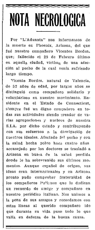 """Necrològica de Vicent Bordes apareguda en el periòdic novaiorquès """"Cultura Proletaria"""" del 20 de març de 1948"""