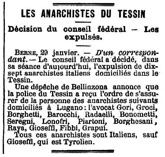 """Notícia de l'expulsió de Domenico Borghesani apareguda en el diari parisenc """"Le Matin"""" del 30 de gener de 1895"""