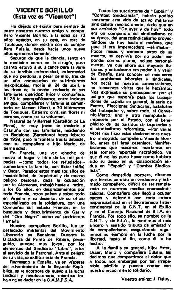 "Necrològica de Vicent Borillo Mezquita apareguda en el periòdic tolosà ""Espoir"" del 8 de juny de 1980"