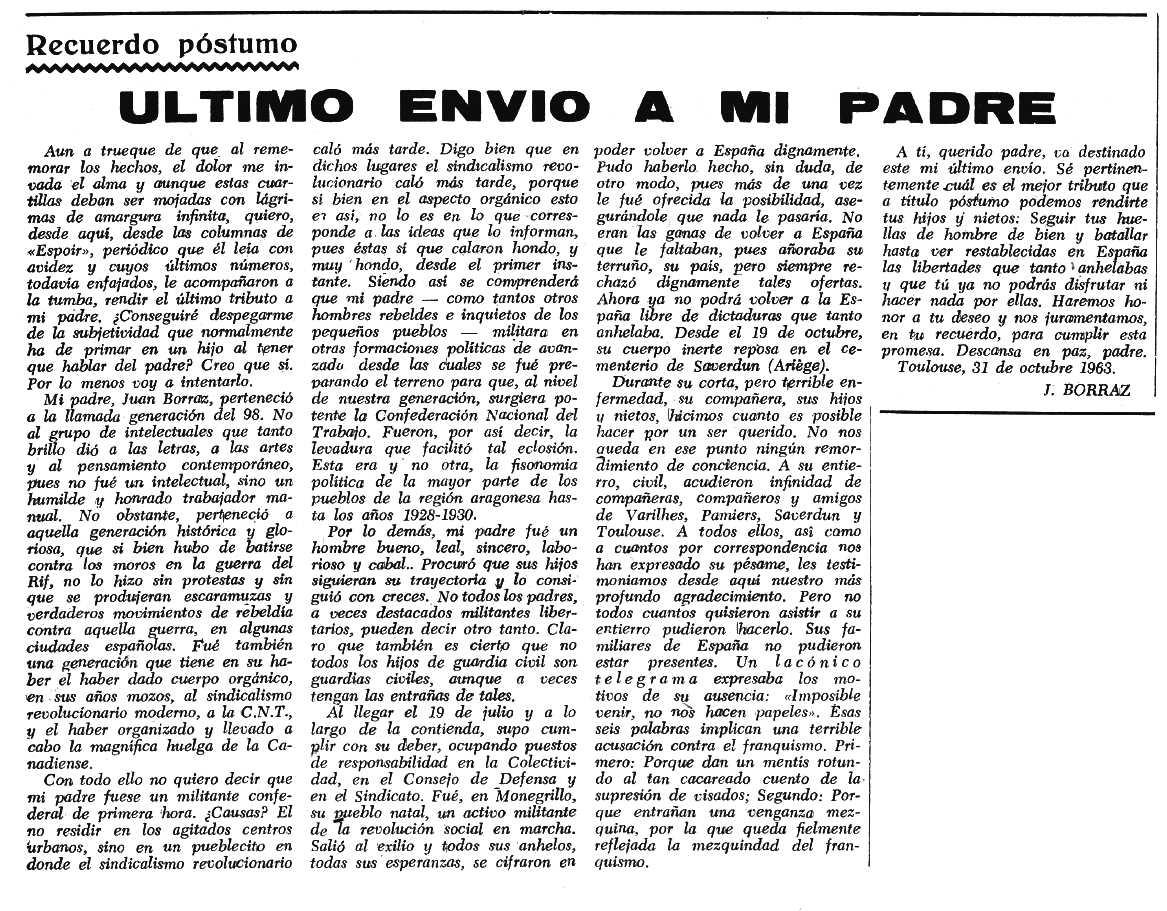 """Necrològica de Juan Borrás Laguna apareguda en el periòdic tolosà """"Espoir"""" del 17 de novembre de 1963"""
