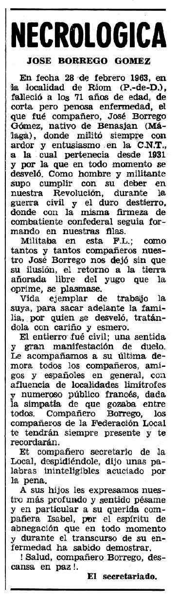 """Necrològica de José Borrego Gómez apareguda en el periòdic tolosà """"Espoir"""" del 14 d'abril de 1963"""