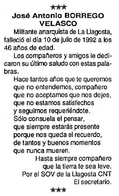 """Necrològica de José Antonio Borrego Velasco apareguda en el periòdic tolosà """"Cenit"""" del 25 d'agost de 1992"""