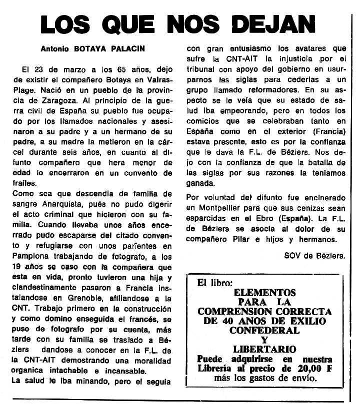 """Necrològica d'Antonio Botaya Palacín apareguda en el periòdic tolosà """"Cenit"""" del 5 de juliol de 1988"""
