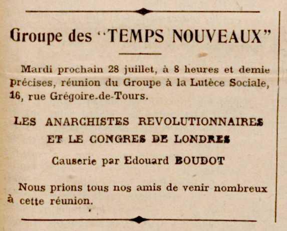 """Notícia d'una xerrada d'Édouard Boudot publicada en el periòdic parisenc """"Les Temps Nouveaux"""" del 25 de juliol de 1914"""