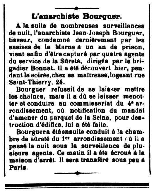 """Notícia de la detenció de Jean Bourguer apareguda en el diari de Reims """"L'Indépendant Rémois"""" del 5 d'abril de 1892"""