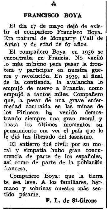 "Necrològica de Francesc Boya apareguda en el periòdic tolosà ""Espoir"" del 30 de setembre de 1962"
