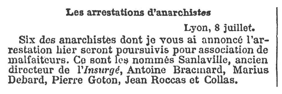 """Notícia de la detenció d'Antoine Bracmard apareguda en el diari parisenc """"Le Temps"""" del 9 de juliol de 1894"""