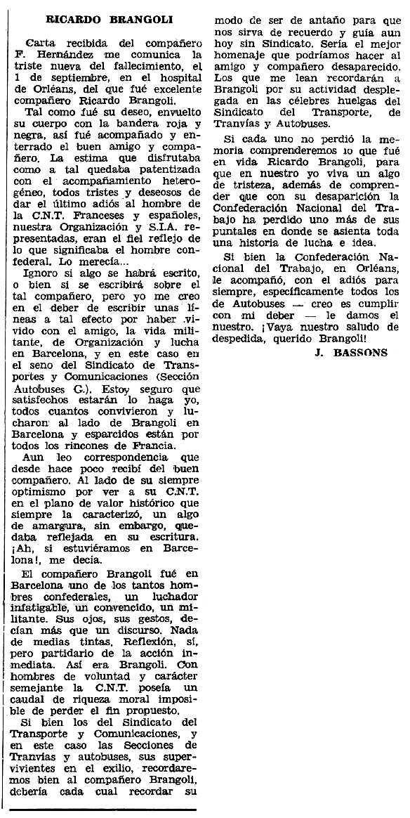 """Necrològica de Ricard Brangolí Escarré apareguda en el periòdic tolosà """"Espoir"""" del 20 novembre de 1966"""