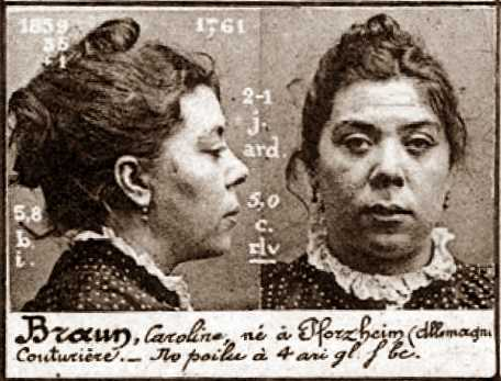 Foto policíaca de Caroline Braun (ca. 1894)